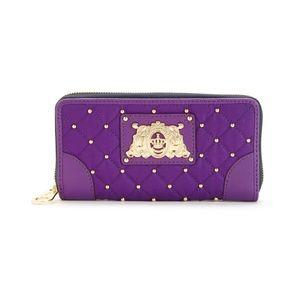 Juicy Couture Quilted Nylon Zip Purple Wallet